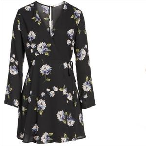 Lush Ellie Black Floral Wrap Dress XL